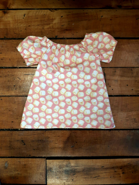 Indie Designer Dress / Toddler Top - With Retro Marshmallow fabric