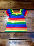 Indie Designer Dress / Toddler Top - With Pride Flag Stripes