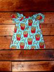 Indie Designer Dress / Toddler Top - With Cute French Fry Fabric