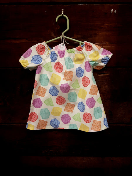 Indie Designer Dress / Toddler Top - With multi-sided dice fabric