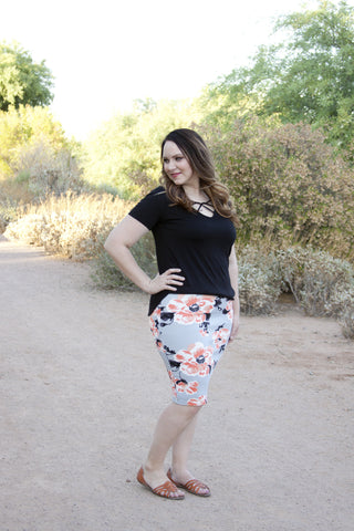 Gray Floral Pencil Skirt S-L