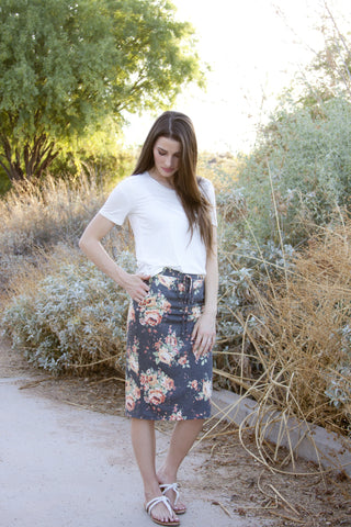 Floral Casual Skirt S-L