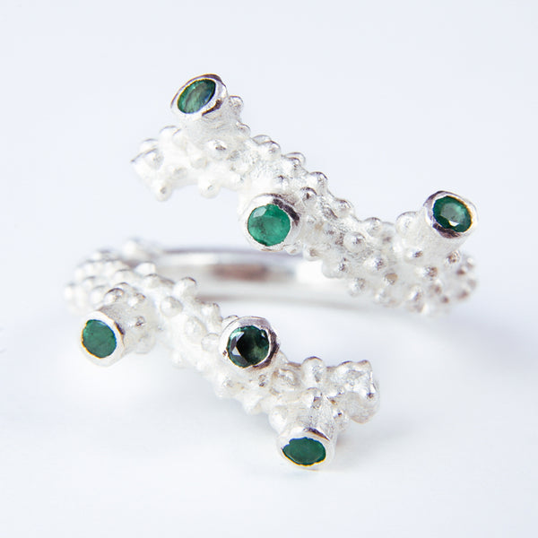 Sterling Silver 925 Emerald Ring