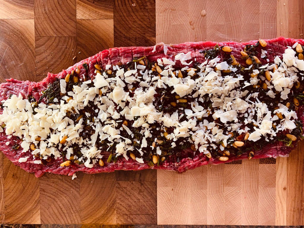 How To Cook Stuffed Flank Steak With Mushroom And Pine Nuts Recipe