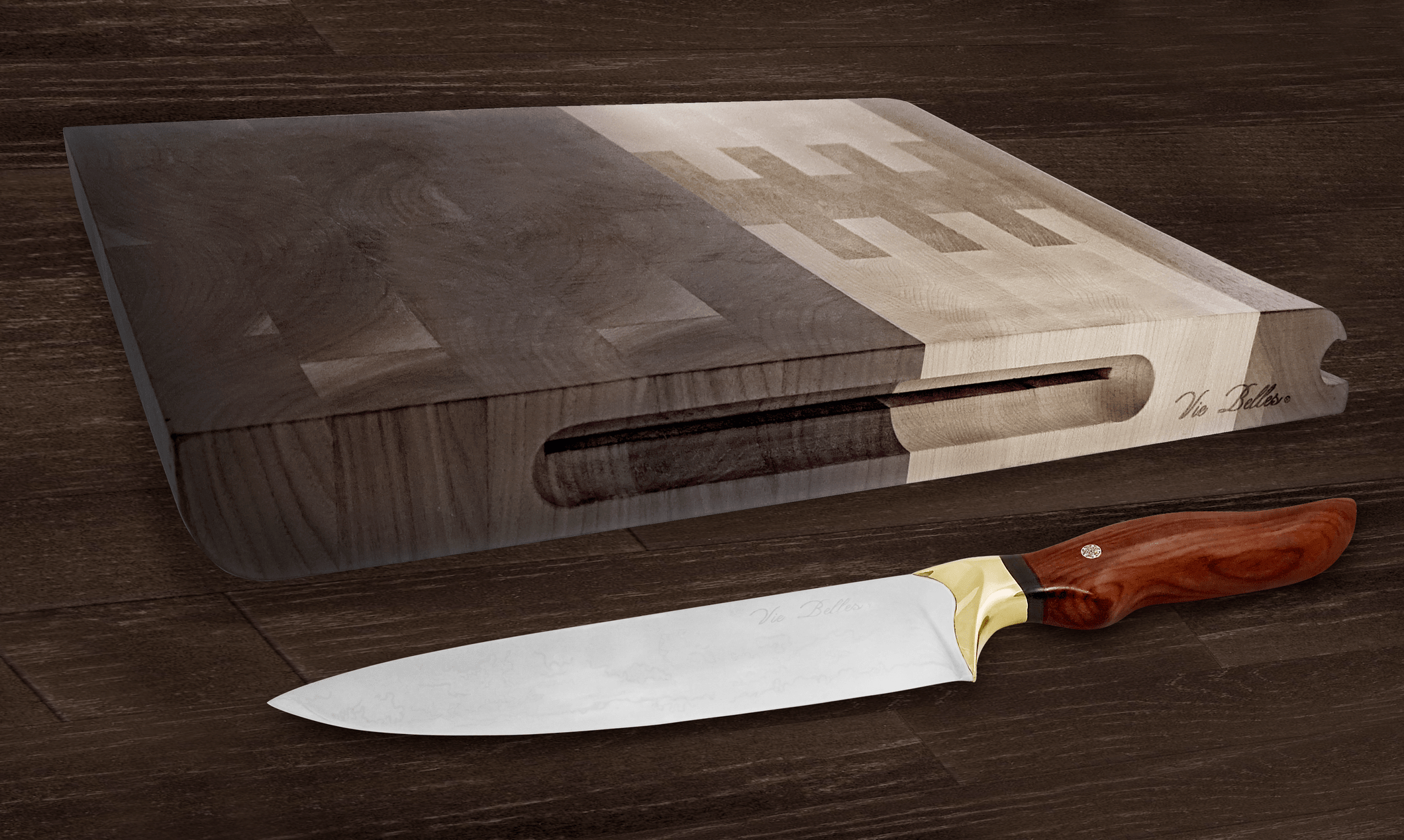 Vie Belles Luxury Pro Chef's Knife & Everyday Cutting Board
