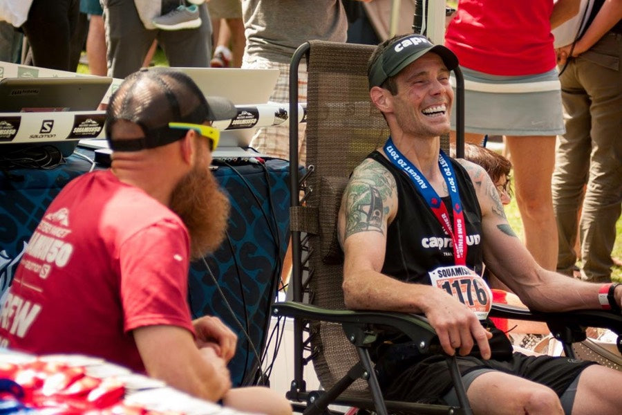 Mike Murphy at Squamish 50 Finish Line after winning the 50-mile race