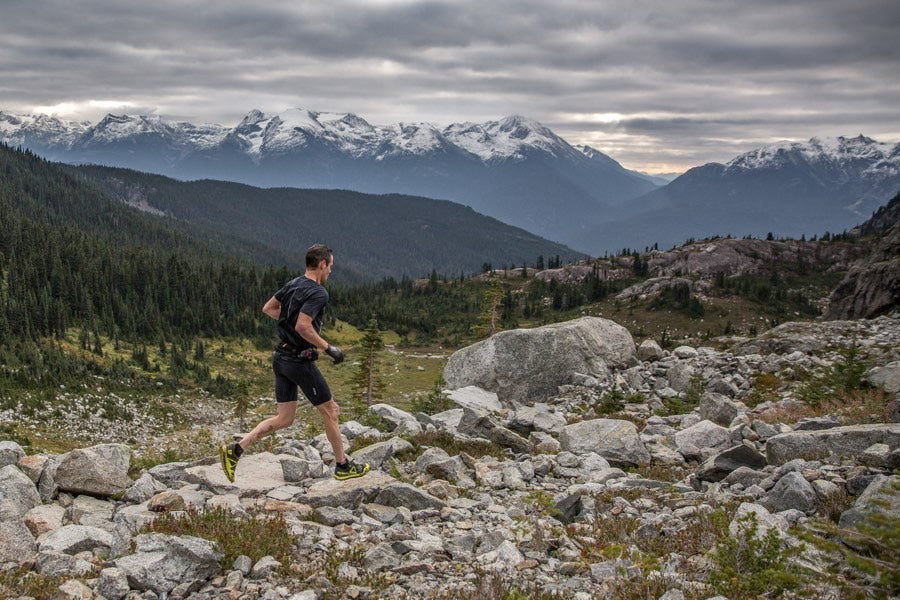 Mike Murphy running in the Whistler Alpine Meadows 55km race