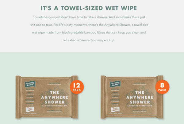 Outdoor Wipes - Anywhere Shower