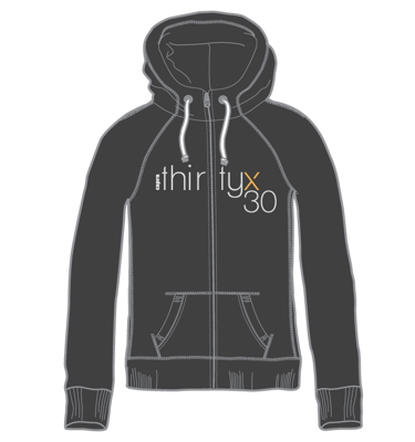 Capra thirtyx30 Women's Zip Front Embroidered Hoodie