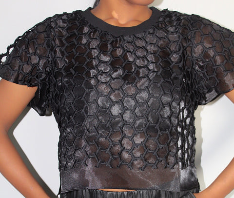 Black Honey Comb Top
