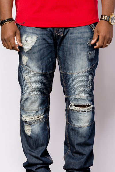 Dark ocean ,Distressed Denim