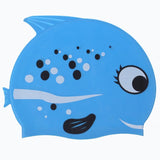 Cartoon Fish Sharp Teeth Shark Children Kids Swim Pool Sports Flexible Waterproof Silicone Diving Protect Ears Swimming Cap Hat