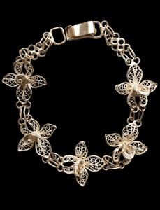 Indonesian Orchid Silver Bracelet