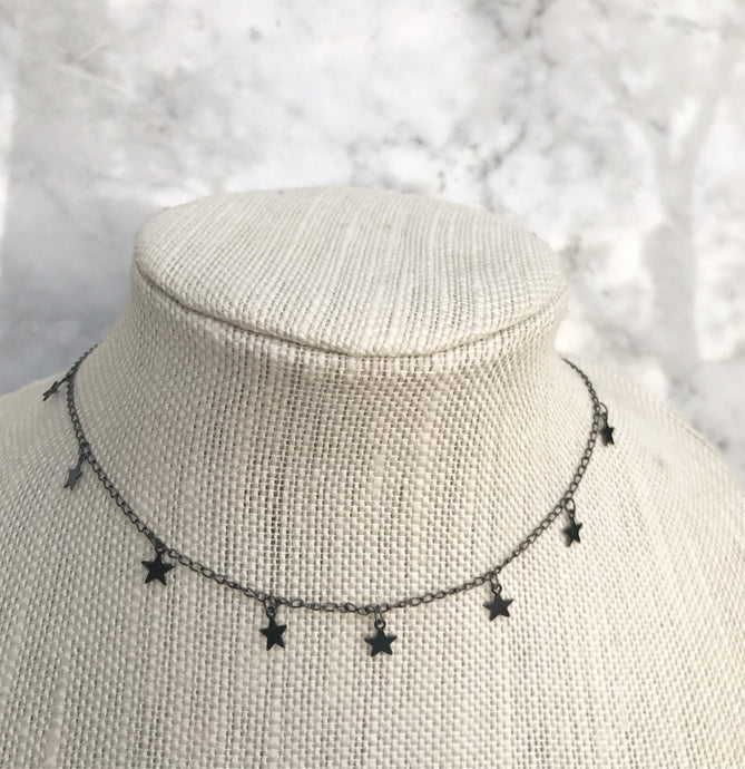 Gunmetal Star Dangle Choker