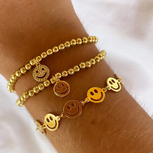 Pave Smiley Charm Bracelet
