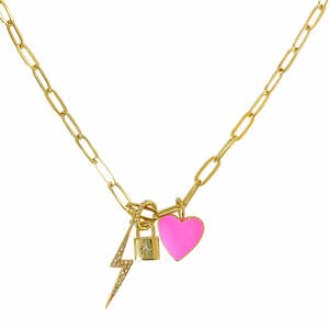 Bolt, Lock, Heart Necklace