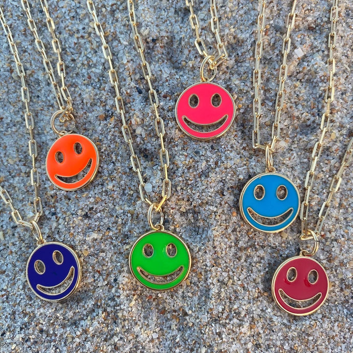 Neon Smiley Face Necklace