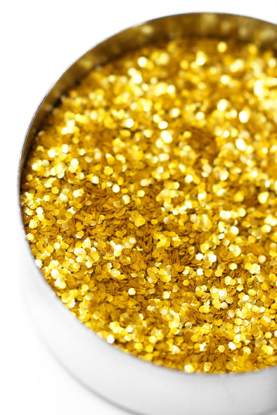 GOLD METALLIC GLITTER HEXAGONS (VEGAN) - FANCY SPRINKLES