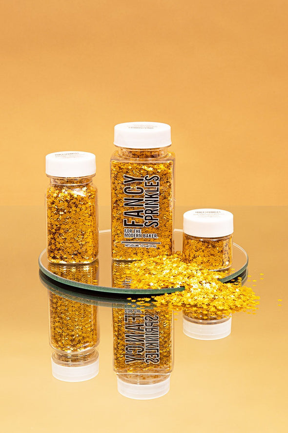 EDIBLE GOLD GLITTER METALLIC STARS (VEGAN) - FANCY SPRINKLES