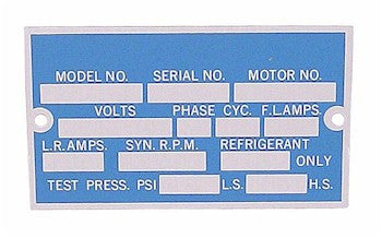 COMPRESSOR TAG ID PLATE, 10 PACK LG - appspares