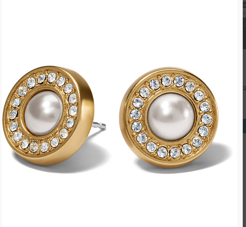 Brighton Meridian Pearl Gold Post Earrings JA7133