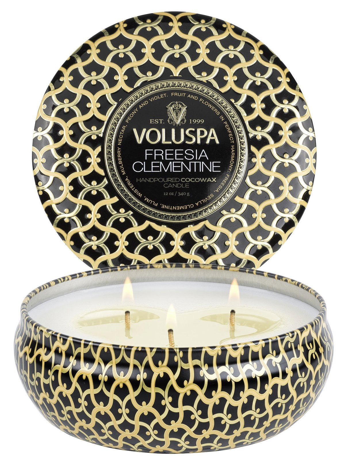 Voluspa FREESIA CLEMENTINE 3 WICK TIN CANDLE