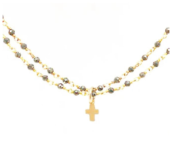 Erin Gray Little Luxe Cross Double Strand Necklace Pyrite