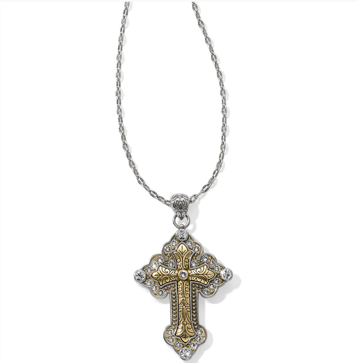 Brighton Greek large convertible cross necklace