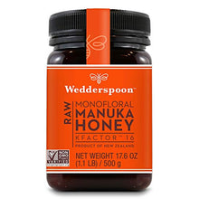 Load image into Gallery viewer, Wedderspoon Raw Premium Manuka Honey KFactor 16+, Unpasteurized, Genuine New Zealand Honey, Multi-Functional, Non-GMO Superfood, 17.6 Ounce