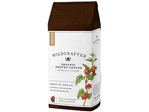 Wildcrafter Botanicals Organic Ground Coffee - Natural Focus & Genius Brain Booster Infused with Ashwagandha & Bacopa Herbal Blend. Includes 12 Ounces of Dark Roast Nootropic Ground Coffee
