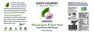 Dave's Gourmet Organic Roasted Garlic and Sweet Basil Pasta Sauce, Pack of 3