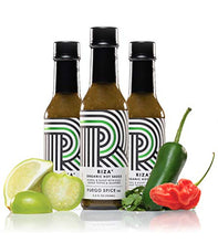 Load image into Gallery viewer, RIZA Organic Ghost Pepper Verde Hot Sauce 3-Pack by FUEGO SPICE co. | NON-GMO, Gluten Free, Vegan Hot Sauce