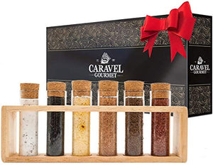 The Deluxe Gourmet Sea Salt Sampler - 6 Delicious Salts in Beautiful Glass Vials with Corks in a Wooden Rack - a Perfect Gift for Everyone - Caravel Gourmet