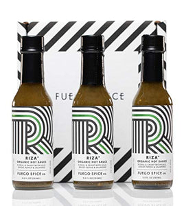 RIZA Organic Ghost Pepper Verde Hot Sauce 3-Pack by FUEGO SPICE co. | NON-GMO, Gluten Free, Vegan Hot Sauce