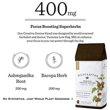 Load image into Gallery viewer, Wildcrafter Botanicals Organic Ground Coffee - Natural Focus & Genius Brain Booster Infused with Ashwagandha & Bacopa Herbal Blend. Includes 12 Ounces of Dark Roast Nootropic Ground Coffee
