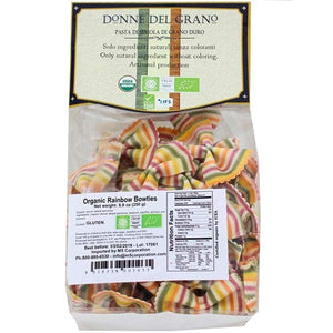 Donne Del Grano Organic Gourmet Italian Vegetable Colored Rainbow Bow Tie Pasta Noodles, 8.8 Oz (250 grams), Pack of 2 bags