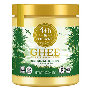 Original Grass-Fed Ghee by 4th & Heart, 16 Ounce, Keto, Pasture Raised, Non-GMO, Lactose Free, Certified Paleo