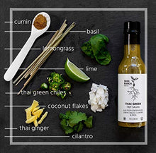 Load image into Gallery viewer, Seed Ranch Flavor Co. - Thai Green (Mild-Medium) - Gourmet Organic Hot Sauce with Home-Grown Chili Peppers, Garlic, Lemongrass, Thai Ginger, Cilantro, Basil