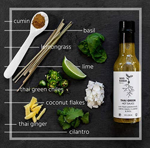 Seed Ranch Flavor Co. - Thai Green (Mild-Medium) - Gourmet Organic Hot Sauce with Home-Grown Chili Peppers, Garlic, Lemongrass, Thai Ginger, Cilantro, Basil