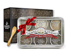 Load image into Gallery viewer, The French Sea Salt Sampler - Perfect as a Gift Set - Reusable Tins & Bamboo Spoon - Fleur de Sel, French Grey, Citrus Fennel, Garden Blend, Grey Provencal, Grey Harvest - 1/2 oz each