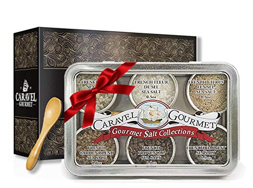 The French Sea Salt Sampler - Perfect as a Gift Set - Reusable Tins & Bamboo Spoon - Fleur de Sel, French Grey, Citrus Fennel, Garden Blend, Grey Provencal, Grey Harvest - 1/2 oz each