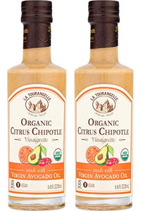 La Tourangelle Organic Citrus Chipotle Vinaigrette, 8.45 fl. Oz., 2-Bottle Pack, Salad Dressing and Marinade, Made with Organic Virgin Avocado Oil, Gluten-Free, Low Sodium, 2 Count