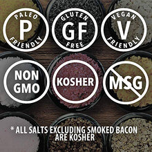 Load image into Gallery viewer, The Smoked Sea Salt Sampler - 6 Resuable Tins with Bamboo Spoon - A Gift for Everyone - Naturally Smoked Bacon, Bacon Chipotle, Onion and Garlic, Alderwood, Garlic and Cherrywood - 1/2 oz each