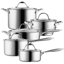 Load image into Gallery viewer, Cooks Standard 10 Piece Multi-Ply Clad Cookware Set, Stainless Steel