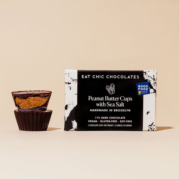 Dark Chocolate Peanut Butter Cups with Maldon Sea Salt - Box of Two