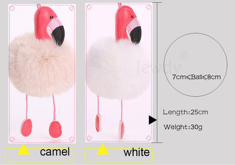 Flamingo Pom Pom Purse keychain