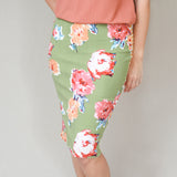 Mixed Print Stretch Pencil Skirts