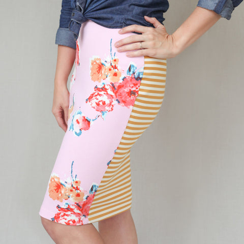 Passion Fruit Fashion - Blush Floral + Mustard Stripe