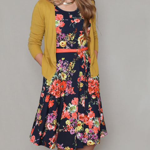 Navy Floral Skater Dress - Passion Fruit Fashion