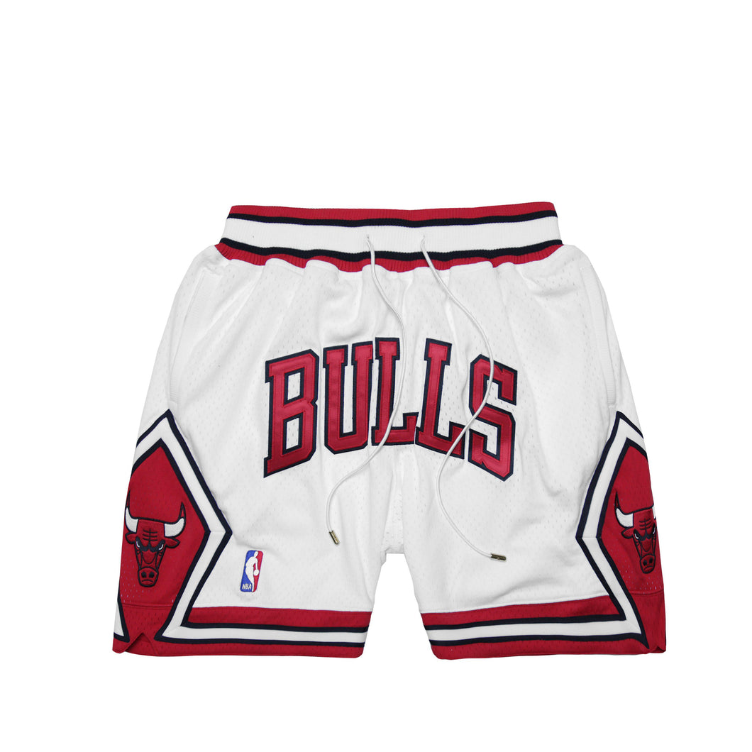WHITE AND RED CHICAGO BASKETBALL SHORTS
